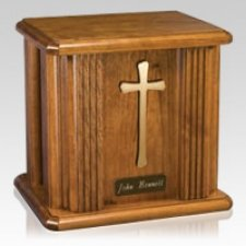 Cross Wood Cremation Urn