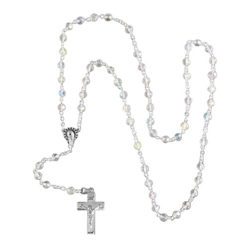 Crystal Silver Cremation Rosary