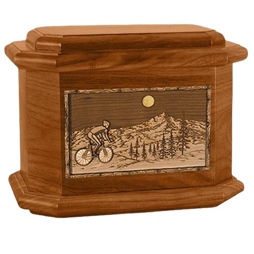 Cycling Mahogany Octagon Cremation Urn