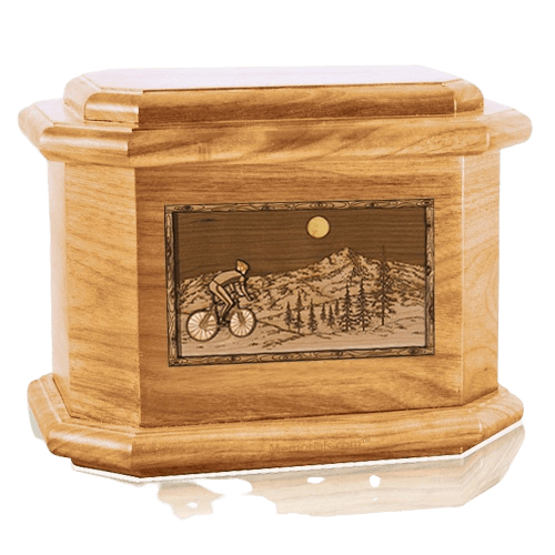 Cycling Oak Octagon Cremation Urn