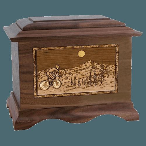 Cycling Walnut Cremation Urn