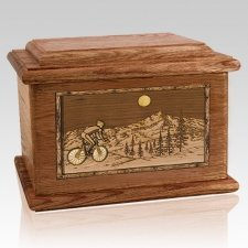 Cycling Walnut Memory Chest Cremation Urn