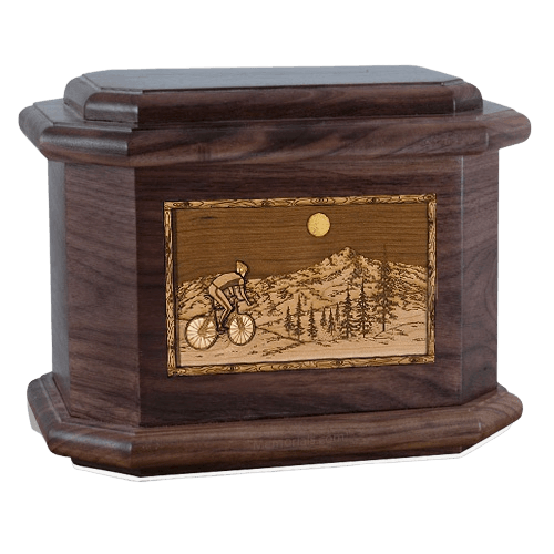 Cycling Walnut Octagon Cremation Urn