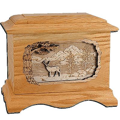 Deer Oak Cremation Urn For Two