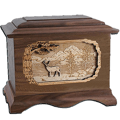 Deer Walnut Cremation Urn For Two