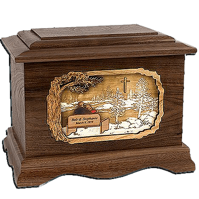 Devoted Walnut Cremation Urn for Two