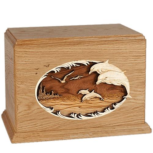 Dolphin Oak Companion Urn