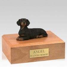 Dachshund Black Laying Dog Urns