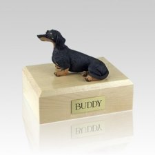 Dachshund Black Sitting Medium Dog Urn