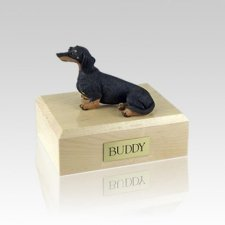 Dachshund Black Sitting Small Dog Urn