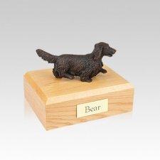 Dachshund Bronze Long-Haired Small Dog Urn