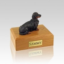Dachshund Long-Haired Black Small Dog Urn