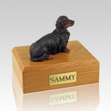 Dachshund Long-Haired Black Dog Urns
