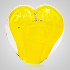 Daffodil Cremation Ash Glass Heart