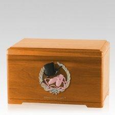 Dance Fan Oak Cremation Urn