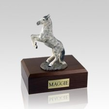 Dapple Gray Rearing Medium Horse Cremation Urn