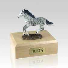 Dapple Gray Running Medium Horse Cremation Urn