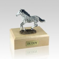 Dapple Gray Running Small Horse Cremation Urn