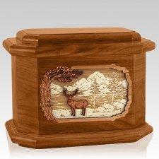 Deer Land Mahogany Octagon Cremation Urn