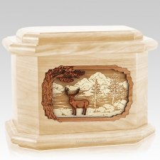 Deer Land Maple Octagon Cremation Urn