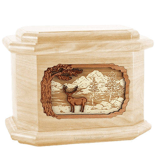 Deer Land Maple Octagon Cremation Urn