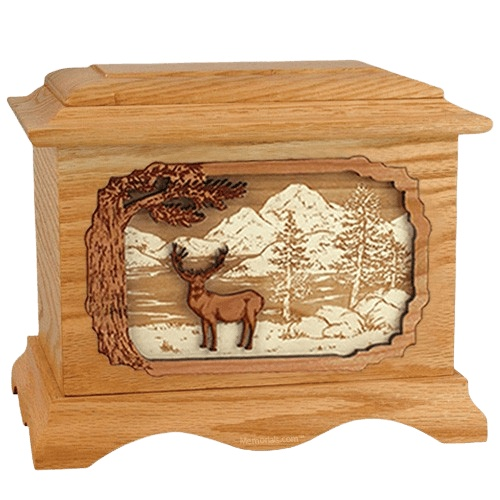 Deer Land Oak Cremation Urn