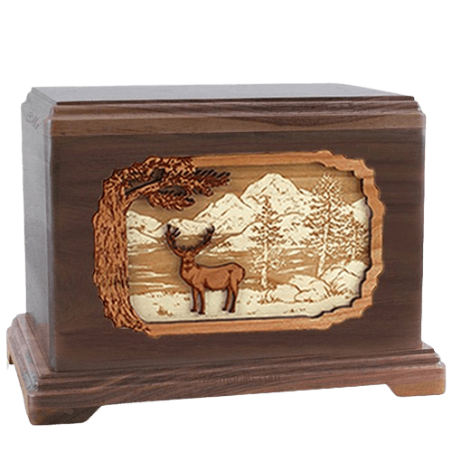 Deer Land Walnut Hampton Cremation Urn