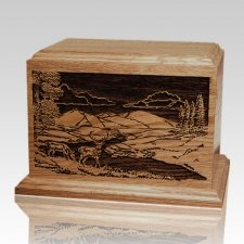 Deer Scene Walnut Wood Cremation Urn