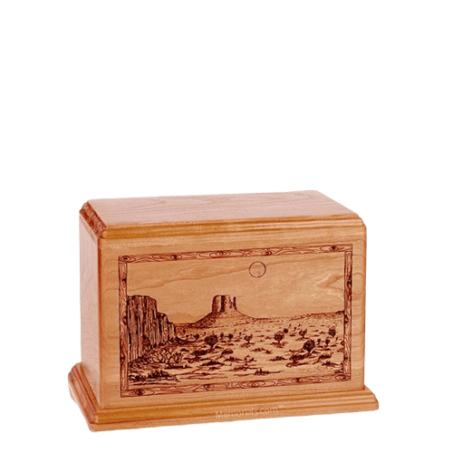 Desert Sunset Small Cherry Wood Urn