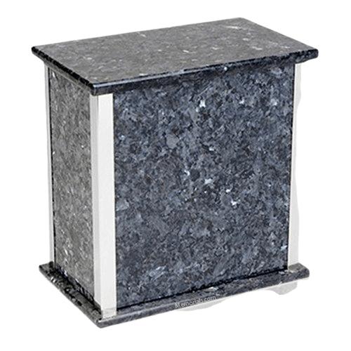 Designer Blue Pearl Granite Silver Cremation Urn