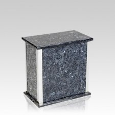 Designer Blue Pearl Granite Silver Medium Urn