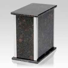 Designer Silver Tan Brown Granite Urn