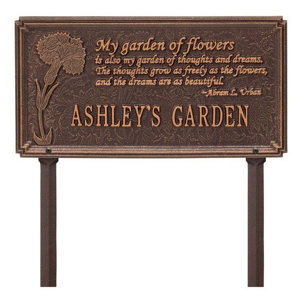 Dianthus Garden Copper Dedication Plaque