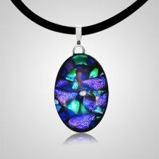 Dichroic Oval Cremation Ash Pendant