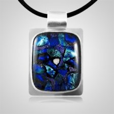 Dichroic Rectangle Silver Visual Cremation Pendant