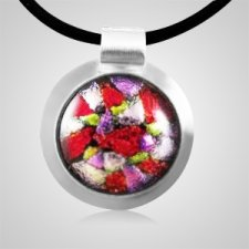 Dichroic Round Silver Cremation Ash Pendant II