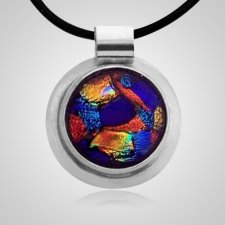 Dichroic Round Silver Cremation Ash Pendant