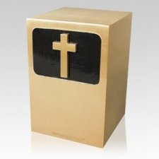 Dignified Cross Bronze Urn