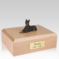 Doberman Black Ears Up Laying X Large Dog Urn
