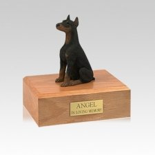 Doberman Black Ears Up Sitting Small Dog Urn