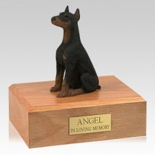 Doberman Black Ears Up Sitting Dog Urns