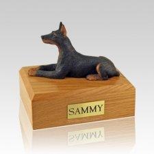 Doberman Black Laying Large Dog Urn
