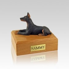 Doberman Black Laying Small Dog Urn
