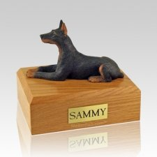 Doberman Black Laying Dog Urns