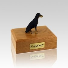 Doberman Black Small Dog Urn