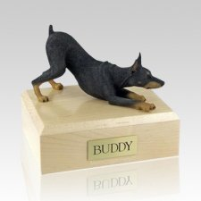 Doberman Black Stretching Dog Urns