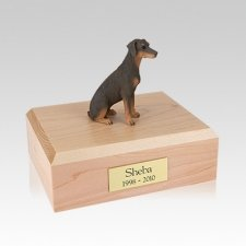 Doberman Red Ears Down Sitting Medium Dog Urn