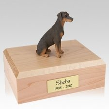 Doberman Red Ears Down Sitting Dog Urns