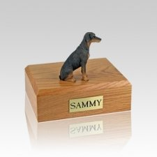Doberman Red Ears Down Small Dog Urn