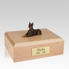 Doberman Red Ears Up Laying Large Dog Urn